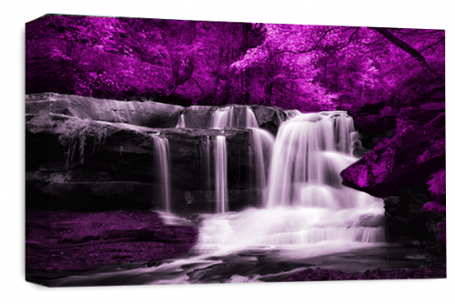 Waterfall Landscape Wall Art Purple Grey White Canvas Forrest Picture